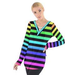 Rainbow Stripes Women s Tie Up Tee