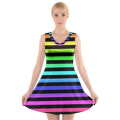 Rainbow Stripes V Neck Sleeveless Skater Dress