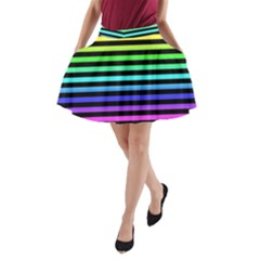 Rainbow Stripes A Line Pocket Skirt