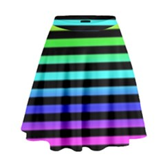 Rainbow Stripes High Waist Skirt
