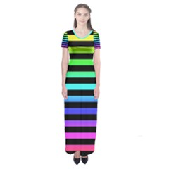 Rainbow Stripes Short Sleeve Maxi Dress