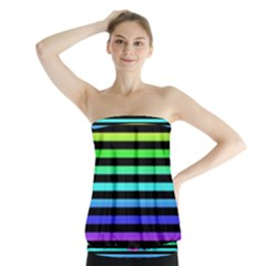 Rainbow Stripes Strapless Top