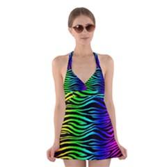 Rainbow Zebra Halter Swimsuit Dress