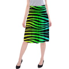 Rainbow Zebra Midi Beach Skirt