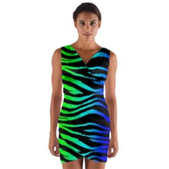 Rainbow Zebra Wrap Front Bodycon Dress