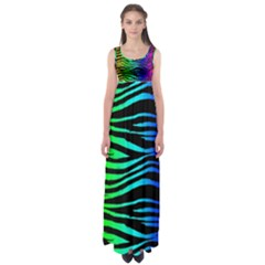 Rainbow Zebra Empire Waist Maxi Dress