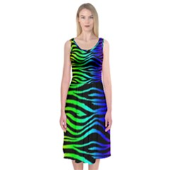 Rainbow Zebra Midi Sleeveless Dress