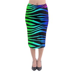 Rainbow Zebra Midi Pencil Skirt