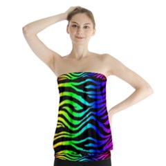 Rainbow Zebra Strapless Top