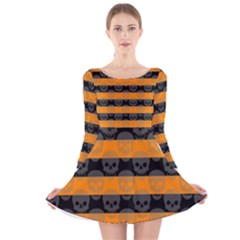 Deathrock Stripes Long Sleeve Velvet Skater Dress