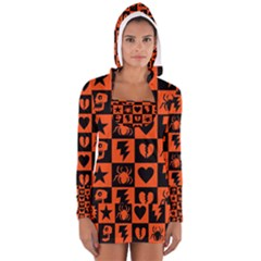 Goth Punk Checkers Women s Long Sleeve Hooded T-shirt