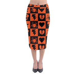 Goth Punk Checkers Midi Pencil Skirt
