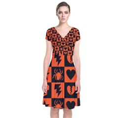 Goth Punk Checkers Short Sleeve Front Wrap Dress