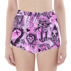 Pink Scene Kid Sketches High Waisted Bikini Bottoms