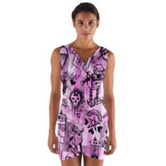 Pink Scene Kid Sketches Wrap Front Bodycon Dress