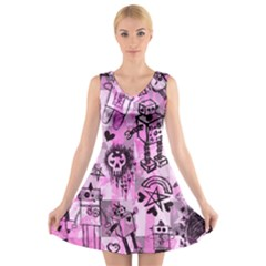 Pink Scene Kid Sketches V-Neck Sleeveless Skater Dress