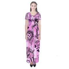 Pink Scene Kid Sketches Short Sleeve Maxi Dress