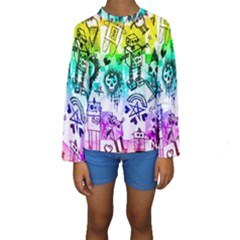 Rainbow Scene Kid Sketches Kid s Long Sleeve Swimwear