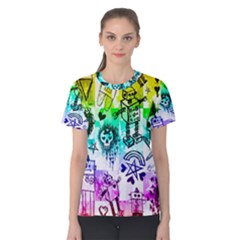 Rainbow Scene Kid Sketches Women s Cotton Tee