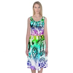 Rainbow Scene Kid Sketches Midi Sleeveless Dress