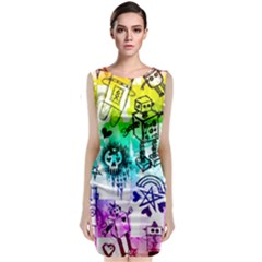 Rainbow Scene Kid Sketches Classic Sleeveless Midi Dress