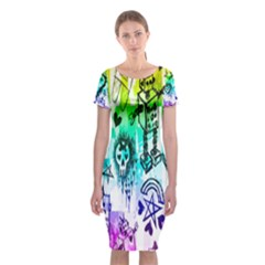 Rainbow Scene Kid Sketches Classic Short Sleeve Midi Dress
