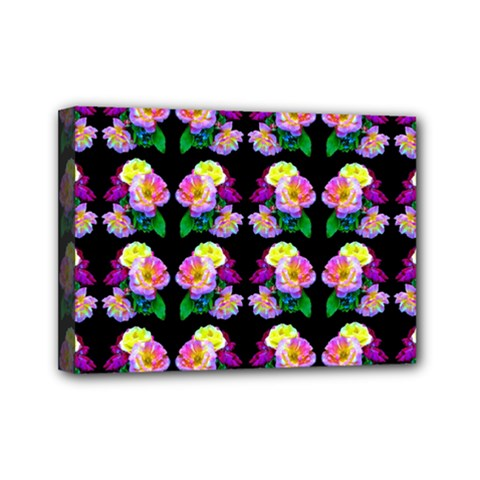 Rosa Yellow Roses Pattern On Black Mini Canvas 7  x 5