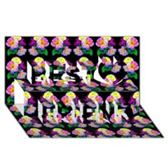 Rosa Yellow Roses Pattern On Black Best Friends 3d Greeting Card (8x4)