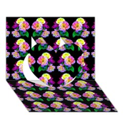 Rosa Yellow Roses Pattern On Black Heart 3D Greeting Card (7x5)