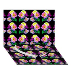 Rosa Yellow Roses Pattern On Black Heart Bottom 3d Greeting Card (7x5)