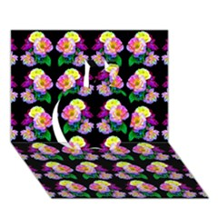 Rosa Yellow Roses Pattern On Black Apple 3D Greeting Card (7x5)