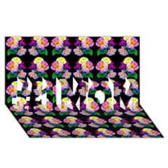 Rosa Yellow Roses Pattern On Black #1 MOM 3D Greeting Cards (8x4)