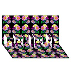 Rosa Yellow Roses Pattern On Black BELIEVE 3D Greeting Card (8x4)