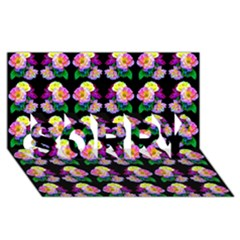 Rosa Yellow Roses Pattern On Black SORRY 3D Greeting Card (8x4)