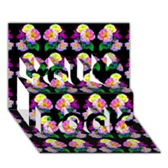 Rosa Yellow Roses Pattern On Black You Rock 3D Greeting Card (7x5)
