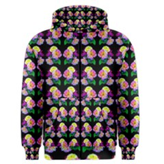 Rosa Yellow Roses Pattern On Black Men s Zipper Hoodie