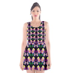 Rosa Yellow Roses Pattern On Black Scoop Neck Skater Dress