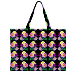 Rosa Yellow Roses Pattern On Black Large Tote Bag