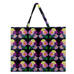 Rosa Yellow Roses Pattern On Black Zipper Large Tote Bag