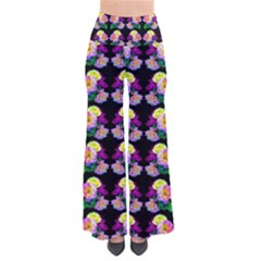 Rosa Yellow Roses Pattern On Black Pants