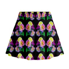 Rosa Yellow Roses Pattern On Black Mini Flare Skirt