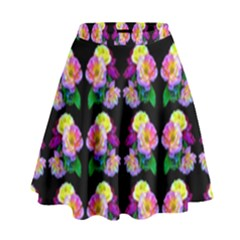 Rosa Yellow Roses Pattern On Black High Waist Skirt