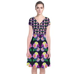 Rosa Yellow Roses Pattern On Black Short Sleeve Front Wrap Dress