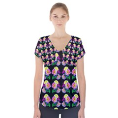 Rosa Yellow Roses Pattern On Black Short Sleeve Front Detail Top