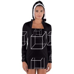 Simple Cube Women s Long Sleeve Hooded T-shirt