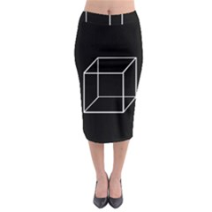 Simple Cube Midi Pencil Skirt