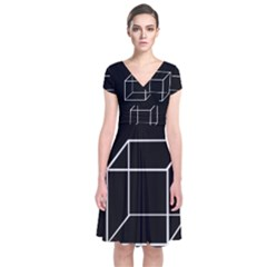 Simple Cube Short Sleeve Front Wrap Dress