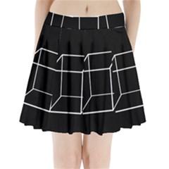 Simple Cube Pleated Mini Mesh Skirt