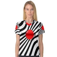 Abstract red ball Women s V-Neck Sport Mesh Tee