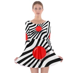 Abstract red ball Long Sleeve Skater Dress